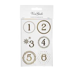 24 Zahlen Aufkleber GOLD - rund 4 cm Ø - Adventskalender DIY Kalenderzahlen