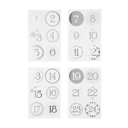 24 Zahlen Aufkleber SILBER - rund 4 cm Ø - Adventskalender DIY Kalenderzahlen
