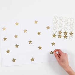 24 Zahlen Aufkleber STERNE GOLD - Adventskalender DIY Kalenderzahlen
