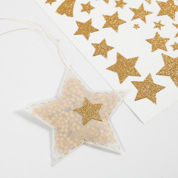 110 Glitzer Sticker Sterne GOLD - Blatt 10 x 24 cm - Deko Aufkleber Adventskalender DIY Weihnachten Geschenkaufkleber