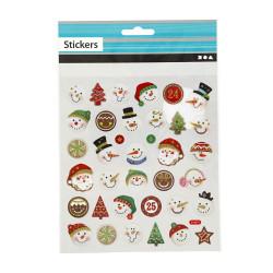 Schneemann Sticker mit Glitzer - Blatt 15 x 16,5 cm - Deko Aufkleber Adventskalender DIY Weihnachten Geschenkaufkleber