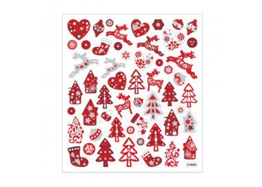 Weihnachts Sticker Rot mit Glitzer - Blatt 15 x 16,5 cm - Deko Aufkleber Adventskalender DIY Weihnachten Geschenkaufkleber
