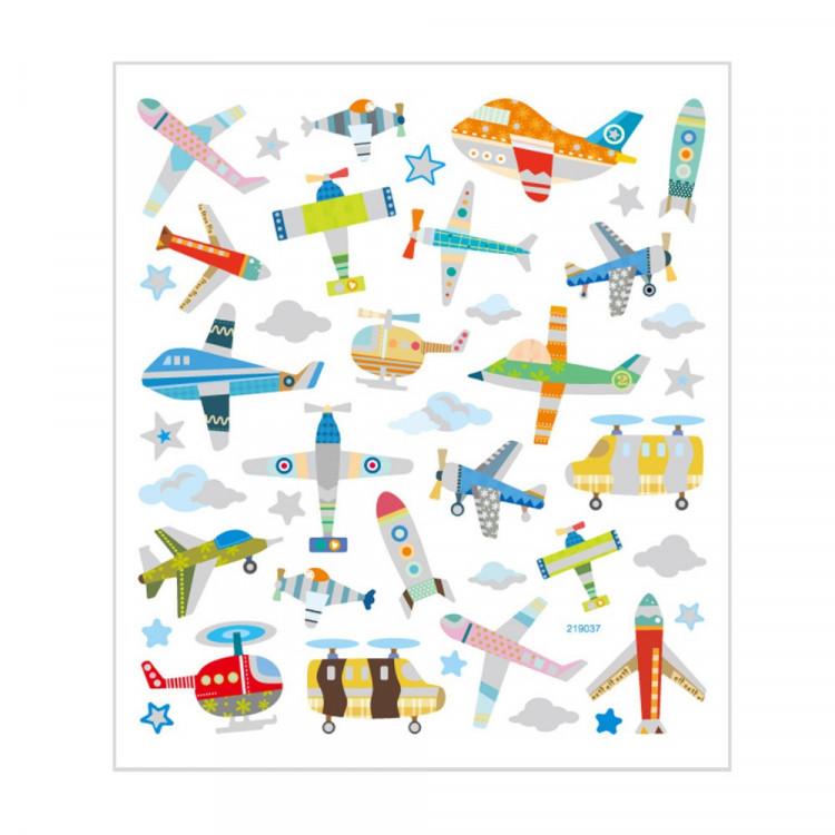 Flugzeug und Hubschrauber Sticker mit Glitzer - Blatt 15 x 16,5 cm - Deko Aufkleber Stickerbogen Geschenkaufkleber Kinder