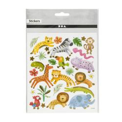 Wilde Tiere Sticker mit Gold Effekt - Blatt 15 x 16,5 cm - Deko Aufkleber Stickerbogen Geschenkaufkleber Kinder