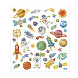 Raumfahrt Sticker mit Gold Effekt - Blatt 15 x 16,5 cm - Deko Aufkleber Stickerbogen Geschenkaufkleber Kinder