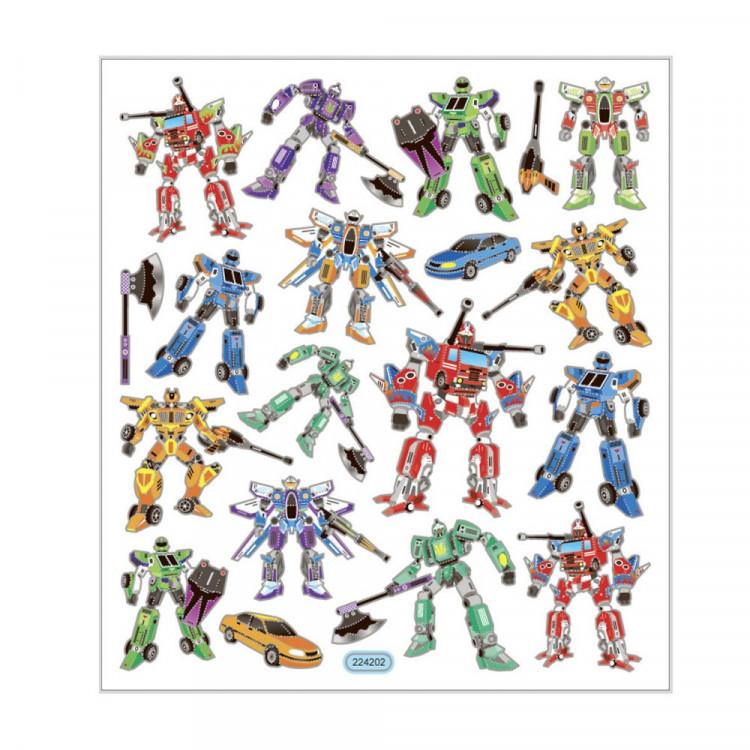 Transformer Roboter mit Metallic Effekt - Blatt 15 x 16,5 cm - Deko Aufkleber Stickerbogen Geschenkaufkleber Kinder