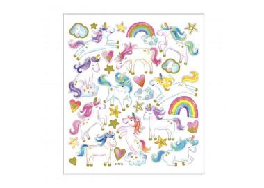Einhorn Sticker mit Goldeffekt - Blatt 15 x 16,5 cm - Regenbogen Deko Aufkleber Stickerbogen Geschenkaufkleber Kinder