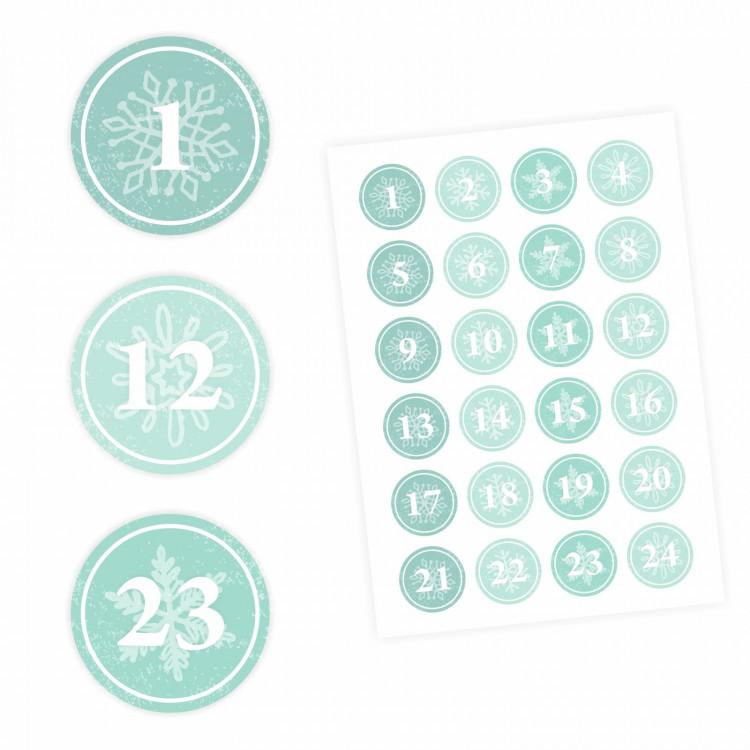 24 Adventskalender Zahlen Aufkleber MINT - rund 4 cm Ø - Sticker Weihnachten zum basteln dekorieren DIY