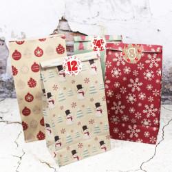 24 Adventskalender Zahlen Aufkleber ROT/BEIGE - rund 4 cm Ø - Sticker Weihnachten zum basteln dekorieren DIY