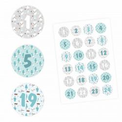 24 Adventskalender Zahlen Aufkleber HELLBLAU/GRAU - rund 4 cm Ø - Sticker Weihnachten zum basteln dekorieren DIY