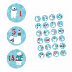 24 Adventskalender Zahlen Aufkleber Eisbären - rund 4 cm Ø - Sticker Weihnachten zum basteln dekorieren DIY