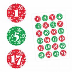 24 Adventskalender Zahlen Aufkleber ROT/GRÜN Schneeflocken - rund 4 cm Ø - Sticker Weihnachten zum basteln dekorieren DIY