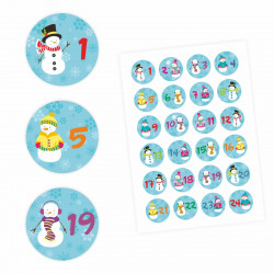 24 Adventskalender Zahlen Aufkleber Schneemann - rund 4 cm Ø - Sticker Weihnachten zum basteln dekorieren DIY