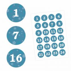 24 Adventskalender Zahlen Aufkleber PETROL - rund 4 cm Ø - Sticker Weihnachten zum basteln dekorieren DIY