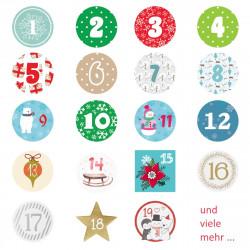 24 Adventskalender Zahlen Aufkleber Aquarell - rund 4 cm Ø - Sticker Weihnachten zum basteln dekorieren DIY