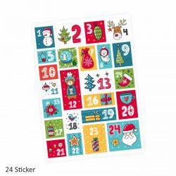 24 Adventskalender Zahlen Aufkleber bunt - eckig - Sticker Weihnachten zum basteln dekorieren DIY