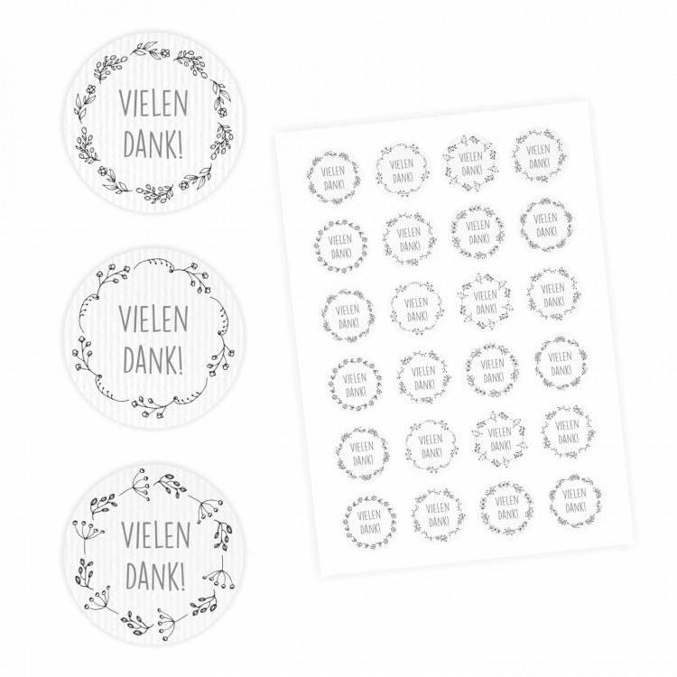 24 Vielen Dank! Aufkleber - Floral weiß - rund 4 cm Ø - Dankeaufkleber Sticker Hochzeit Gastgeschenk