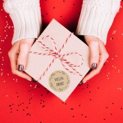 24 Vielen Dank! Aufkleber - Floral Kraftpapieroptik - rund 4 cm Ø - Dankeaufkleber Sticker Hochzeit Gastgeschenk