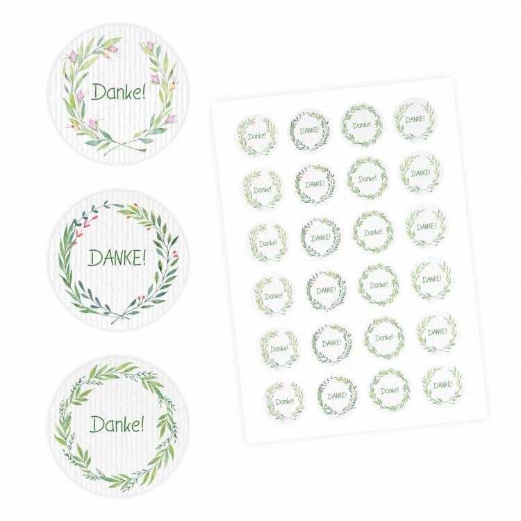 24 Danke Aufkleber - Floral Aquarell grün - rund 4 cm Ø - Dankeaufkleber Sticker Hochzeit Gastgeschenk