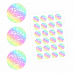 24 Vielen Dank! Aufkleber - Regenbogen - rund 4 cm Ø - Dankeaufkleber Sticker Hochzeit Gastgeschenk