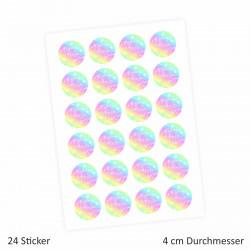 """24 """"Schön, dass Du da bist!"""" Aufkleber - Regenbogen - rund 4 cm Ø - Sticker Hochzeit Gastgeschenk"""