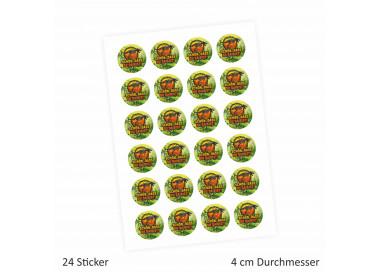 """24 """"Schön, dass Du da bist!"""" Aufkleber - Dinosaurier - rund 4 cm Ø - Sticker Dinoparty Gastgeschenk"""