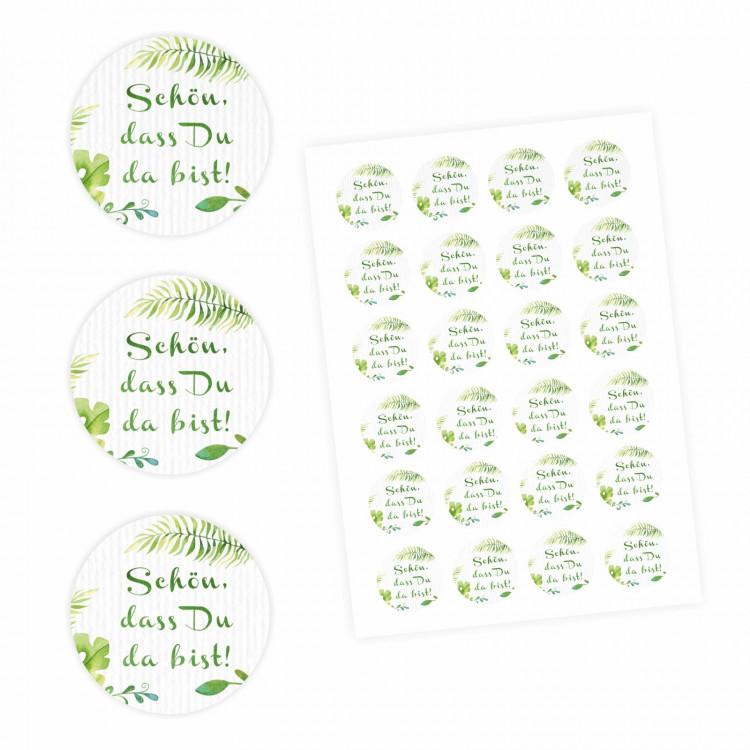"""24 """"Schön, dass Du da bist!"""" Aufkleber - Floral Weiß/ Grün - rund 4 cm Ø - Sticker Hochzeit Gastgeschenk"""