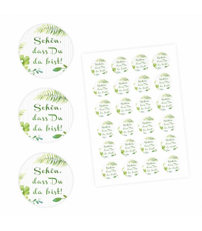 24 Schön Dass Du Da Bist Aufkleber Floral Weiß Grün