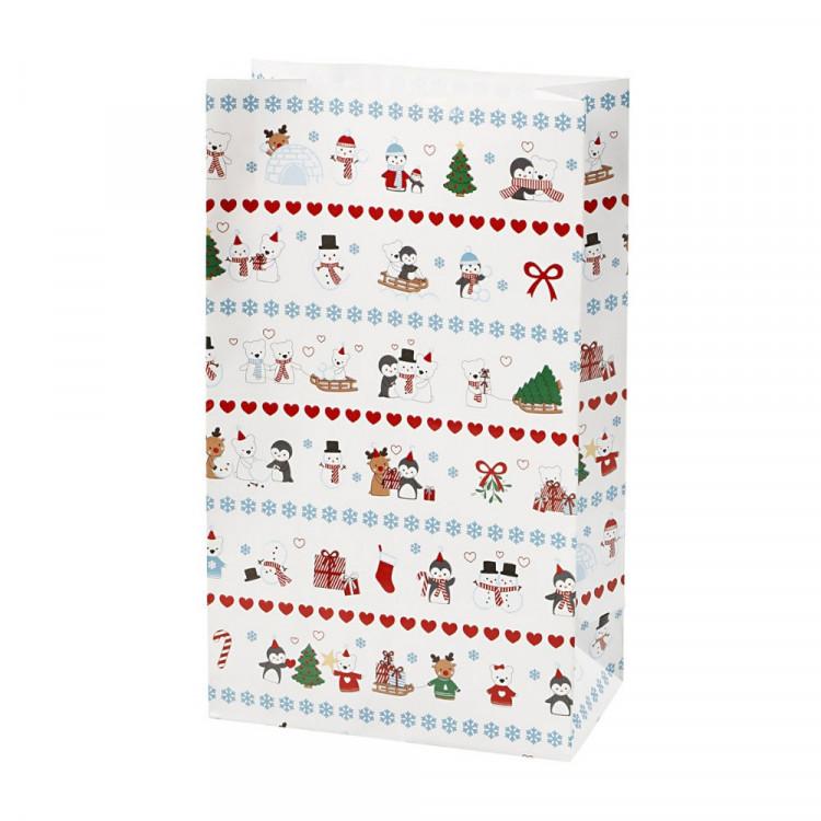 8 Papiertüten Eisbären| H 21cm - 6 x 12cm | Geschenktüte Weihnachten Adventskalender DIY