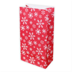 5 Papiertüten Schneeflocken ROT/WEIß| H 23cm - 7,5 x 12cm | Geschenktüte Weihnachten Adventskalender DIY