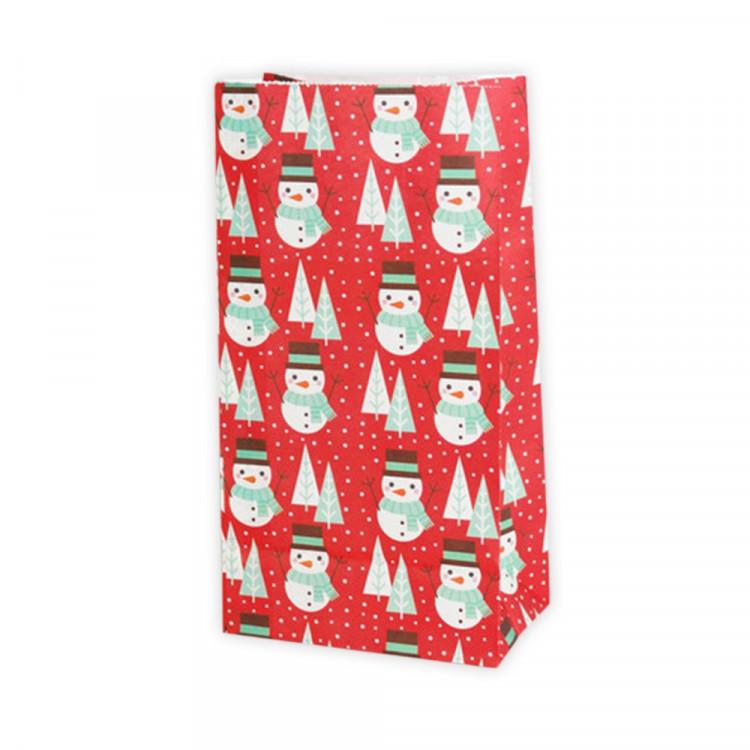 5 Papiertüten Schneemänner ROT/WEIß| H 23cm - 7,5 x 12cm | Geschenktüte Weihnachten Adventskalender DIY