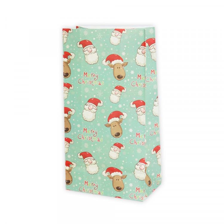 5 Papiertüten Weihnachtsmann| H 23cm - 7,5 x 12cm | Geschenktüte Weihnachten Adventskalender DIY