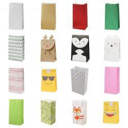 5 Papiertüten Punkte rosa grün| H 23cm - 7,5 x 12cm | Geschenktüte Hochzeit Geburtstag Gastgeschenk DIY