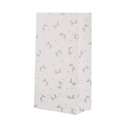 5 Papiertüten Schleifen grau| H 23cm - 7,5 x 12cm | Geschenktüte Hochzeit Geburtstag Gastgeschenk DIY