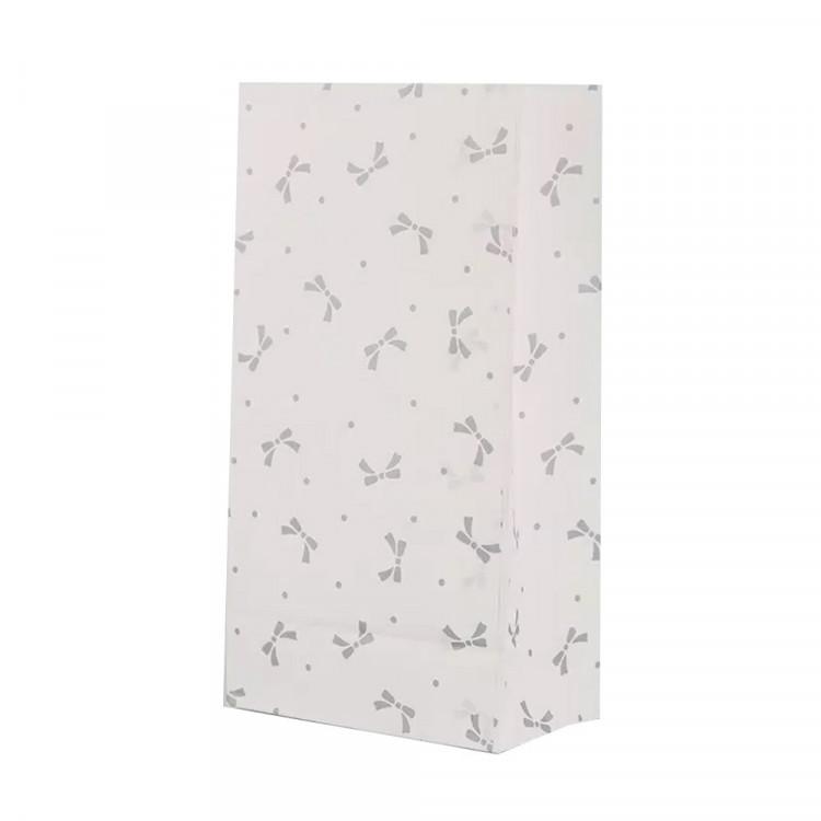 5 Papiertüten Schleifen grau H 23cm - 7,5 x 12cm Geschenktüte Hochzeit Geburtstag Gastgeschenk DIY