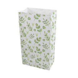 5 Papiertüten Floral grün| H 23cm - 7,5 x 12cm | Geschenktüte Hochzeit Geburtstag Gastgeschenk DIY