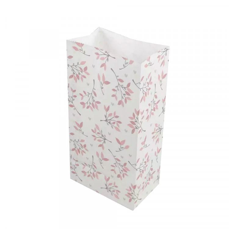 5 Papiertüten Floral rot/grau H 23cm - 7,5 x 12cm Geschenktüte Hochzeit Geburtstag Gastgeschenk DIY