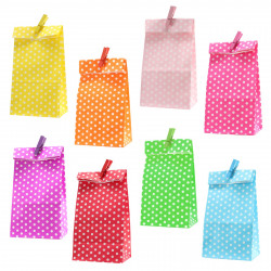 5 Papiertüten gelb Punkte inkl. 5 Dekoklammern| H 18 cm - 6 x 9 cm | Geschenktüten Kindergeburtstag Gastgeschenk DIY