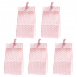 5 Papiertüten rosa Punkte inkl. 5 Dekoklammern| H 18 cm - 6 x 9 cm | Geschenktüten Kindergeburtstag Gastgeschenk DIY
