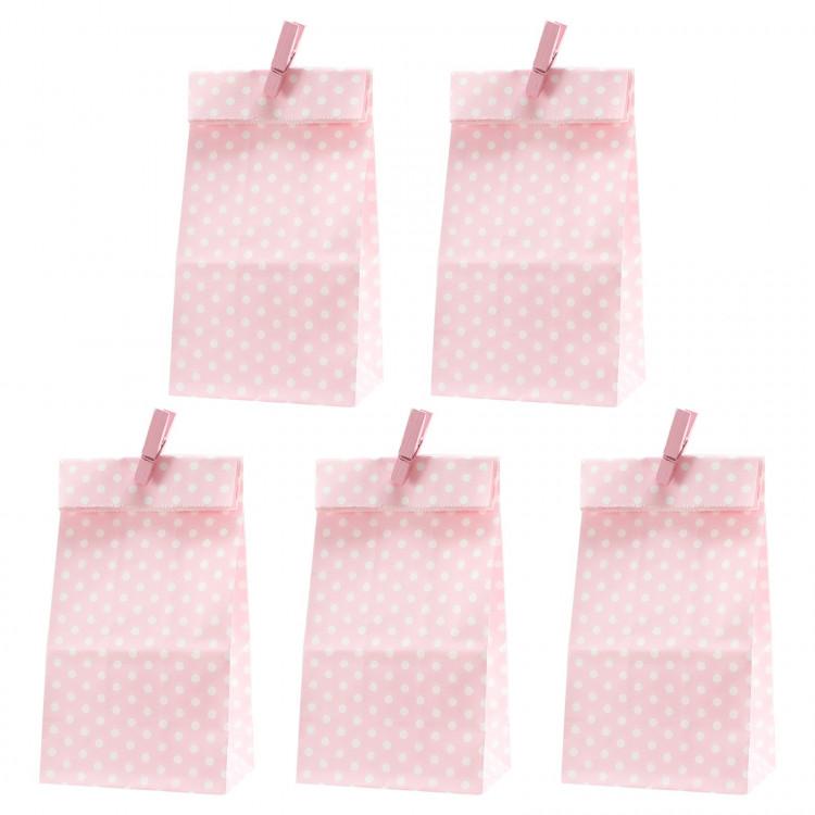 5 Papiertüten rosa Punkte inkl. 5 Dekoklammern H 18 cm - 6 x 9 cm Geschenktüten Kindergeburtstag Gastgeschenk DIY