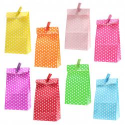 5 Papiertüten pink Punkte inkl. 5 Dekoklammern| H 18 cm - 6 x 9 cm | Geschenktüten Kindergeburtstag Gastgeschenk DIY