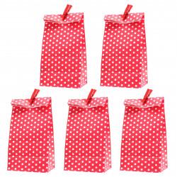 5 Papiertüten rot Punkte inkl. 5 Dekoklammern| H 18 cm - 6 x 9 cm | Geschenktüten Kindergeburtstag Gastgeschenk DIY