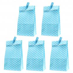 5 Papiertüten blau Punkte inkl. 5 Dekoklammern| H 18 cm - 6 x 9 cm | Geschenktüten Kindergeburtstag Gastgeschenk DIY
