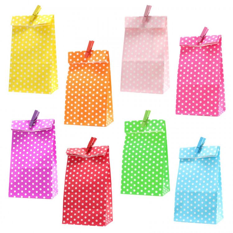 8 Papiertüten bunt Punkte inkl. 8 Dekoklammern H 18 cm - 6 x 9 cm Geschenktüten Kindergeburtstag Gastgeschenk DIY