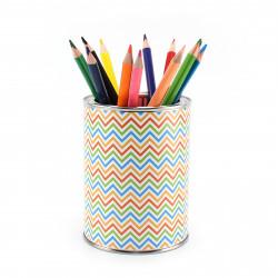 Stiftebecher Zick Zack bunt inkl. 12 Dreikant Buntstiften| Kinder Stifteköcher Stiftehalter Schreibtisch Organizer Mädchen