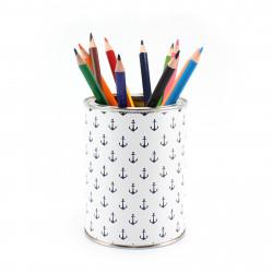 Stiftebecher Anker marine/weiß inkl. 12 Dreikant Buntstiften| Kinder Stifteköcher Stiftehalter Schreibtisch Organizer Mädchen