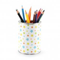 Stiftebecher Sterne bunt inkl. 12 Dreikant Buntstiften| Kinder Stifteköcher Stiftehalter Schreibtisch Organizer Mädchen Junge
