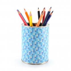 Stiftebecher Pixel blau inkl. 12 Dreikant Buntstiften| Kinder Stifteköcher Stiftehalter Schreibtisch Organizer Mädchen Junge