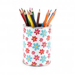 Stiftebecher Blumem rot/blau inkl. 12 Dreikant Buntstiften| Kinder Stifteköcher Stiftehalter Schreibtisch Organizer Mädchen