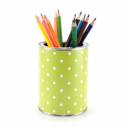 Stiftebecher Punkte grün/weiß inkl. 12 Dreikant Buntstiften| Kinder Stifteköcher Stiftehalter Schreibtisch Organizer Mädchen